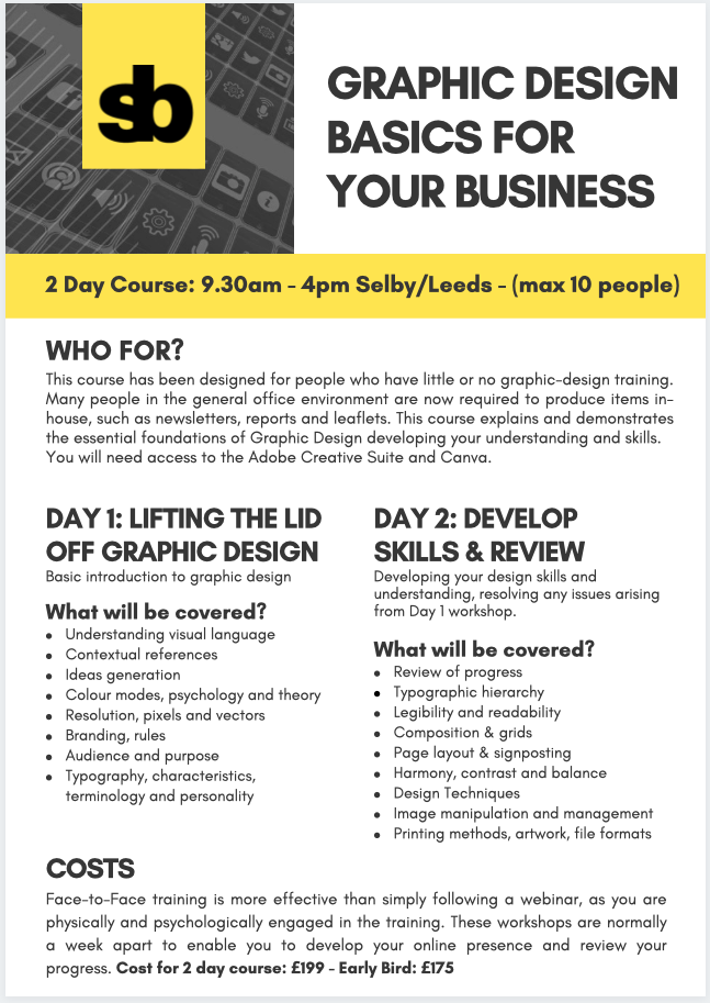 Graphic Design basics 2 day course